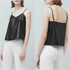 Black Faux Leather Cami V Neck Top Mango Size S M  UK 8 10 US 4 6 Zara Blogger ❤