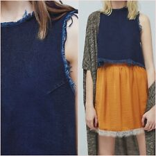 Denim Blue Indigo Frayed Crop Top Mango Size M L UK 10 12 US 4 6 Zara Blogger ❤