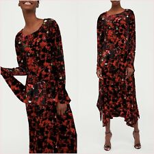 Zara Red Velvet Floral Long Sleeves Midi Dress Size M UK 10 US 6 Blogger ❤