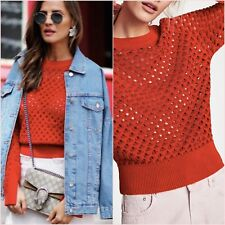 Zara Red Openwork Knit Jumper Sweater Long Sleeves Top S M 8 10 US 4 6 Blogger ❤