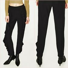 Zara Black High Rise Frills Stretch Flowing Trousers Pants XS UK 6 US 2 Blogger❤