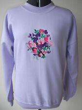 LADIES SWEATSHIRT,JUMPER,TOP LILAC WITH AN EMBROIDERED SWEETPEA FLOWERS  DESIGN