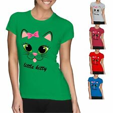 Little Kitty Cat Bow Printed T Shirt Womens Short Sleeve Cotton Tee Ladies Top