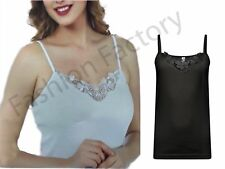 Women`s Ladies Girls Strappy Vest Cotton Lace Trim Sleeveless Camisole Cami Top