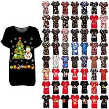 Womens Ladies Batwing Xmas Snowman Tree Candy Christmas Oversized Baggy T Shirt