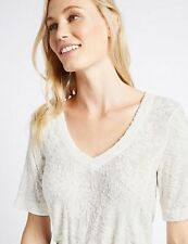 M&S Ivory Textured Devore V-neck Top Size 16 RRP £29.50 - New tag missing!