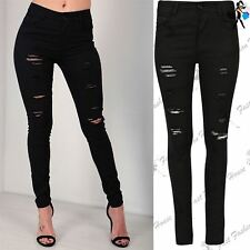 Womens Ladies Skinny Fitted Denim Stretch Trousers Destroyed Damage Ripped Jeans