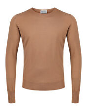 John Smedley Made In England Marcus Crew Neck Merino Mens Jumper - Camel