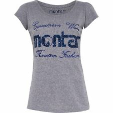 Montar Sequin Womens T-shirt - Grey All Sizes