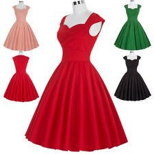 Dress Evening Pinup Cotton Retro Vintage Womens Party Swing 50s 60s Style 50's