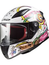 Casco moto infantil LS2 2019 FF353 Rapid Mini Crazy Pop-blanco-rosado