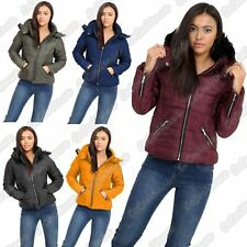 New Ladies Detachable Fur Collar Side Panelled Zipper Padded Jacket Winter Coat