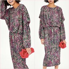 Zara Peacock Floral Long Sleeve Midi Dress Size S M 8 10 US 4 6 Blogger ❤