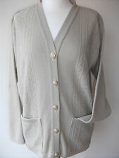 LADIES, WOMENS, LADYS, BEIGE SMALL V-NECK CARDIGAN WITH POCKETS, LONG SLEEVES,