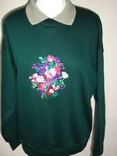 LADIES SWEATSHIRT,JUMPER,TOP WITH AN EMBROIDERED SWEETPEA FLOWERS  GREEN/GREEN