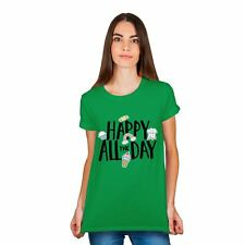 Womens Ladies Happy All The Day Print Top Short Sleeve TShirt Cotton Tee Summer