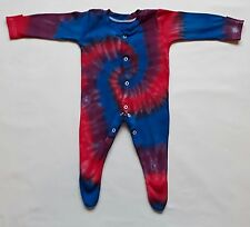 Tie Dye Baby Boy 100% Cotton Sleepsuit Babygrow Shower Gift Christmas BLUE RED