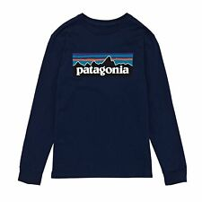 Patagonia Graphic Organic Boys T-shirt Long Sleeve - P-6 Logo: Classic Navy