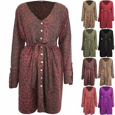 Womens Ladies V Neck Animal Prints Leopard Snake Belted Front Button Down Dress