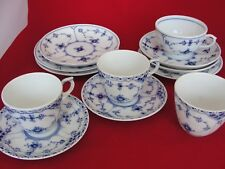 BLUE FLUTED ROYAL COPENHAGEN PORCELAIN  CUP AND SAUCES