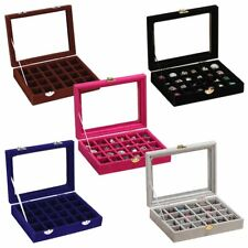 Organizer Case Box Holder Storage Glass Jewelry Earring Velvet Display Ring YT