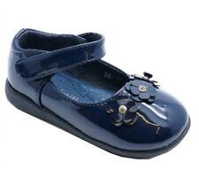Girls Navy Patent Faux Leather Flower Shoes UK Infant Size 4, 4.5 ,5 ,6 ,7 & 8