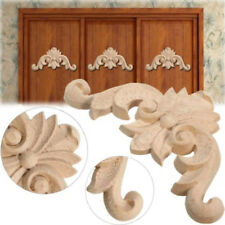 Unpainted Wood Carved Applique Frame Corner Onlay Furniture Craft Room Decor DIY