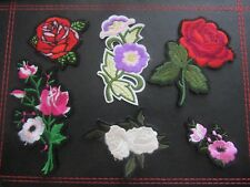 IRON ON BADGE SEW ON PATCH ROSE FLOWER EMBROIDERED APPLIQUE