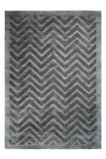 Lines Stephen Zack Pattern Rugs Viscose Rug Navy Blue Grey Anthracite