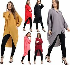 Stylish Ladies Button Hi Lo Long Sleeve Collared Chiffon Shirt Dress Top UK 8-26