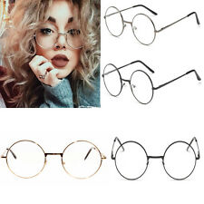 Women Men Large Oversized Metal Frame Clear Lens Round Circle Eye Glasses Gift