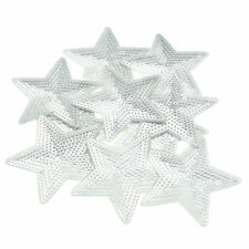SEQUIN STAR IRON ON BADGE SEW ON PATCH SILVER EMBROIDERED APPLIQUE