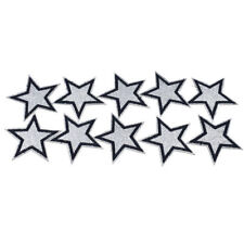 STAR IRON ON BADGE SEW ON PATCH SILVER GLITTER EMBROIDERED APPLIQUE