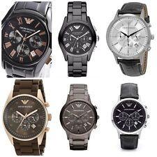 Emporio Armani Men's Watch Leather Ceramica Classic Watches Chronograph UK SELL