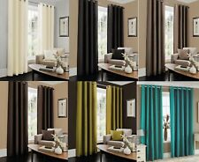 Faux Silk Curtain Fully Lined Eyelet Pair of Curtains Plain Ring Top Curtain