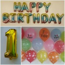 Large Happy 1st Birthday Baby Boy Party Balloons Decorations Number 1 Balloons