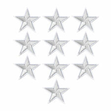 STAR IRON ON BADGE SEW ON PATCH SILVER EMBROIDERED APPLIQUE