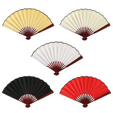 Chinese Bamboo Hand Held Silk Fabric Folding Fan Wedding Stage Performance