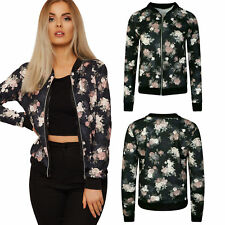 New Ladies Jackets Bomber Floral Flower Print Biker Coats Casual Outwear 8-22