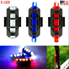 USB Rechargeable 5 LED Cycling Bike Bicycle Tail Warning Light Rear Safety Light