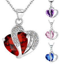 Women Ladies Living Memory Heart Love Silver Necklace Valentines Birthday Gift
