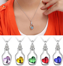 Fashion Women Pendant Jewelry Crystal Heart Silver Love Necklace Valentines Gift