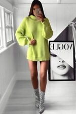 Womens Ladies Neon Sweater Pullover Lime Green Knit High Neck Jumper Dress 8-16