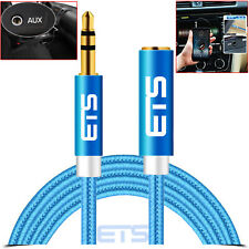 ETS 3.5MF Male To Female Extension Jack Stereo Audio Headphone MP3 Cable Blue UK