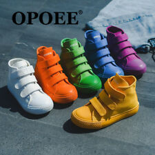 c133d1f86291 Boys Girls Canvas Shoes Plimsolls Sports High Top Kids Candy Color Sneakers