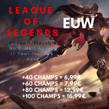 League of Legends Account LOL Euw Unranked Level 30 Champs All Smurf Skins Acc