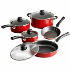 Nonstick 9-Piece Pots And Pans Cookware Set Cooking Kitchen Red, Polished New