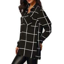 Women's Long Sleeve Plaid Turn Down Collar Blouse Top