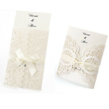 Wedding Invitations Invite Lace Cut Out Effect Blank Cards w Envelopes Vintage