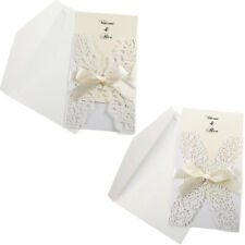 10x Laser Cut Wedding Invitations Cards Printable Paper Envelope Matched Ribbon